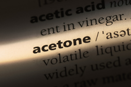acetone word in a dictionary. acetone concept.