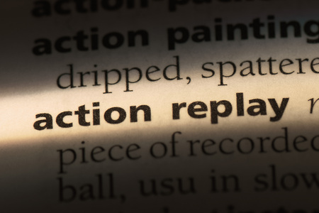 action replay word in a dictionary. action replay concept. 스톡 콘텐츠 - 99525546