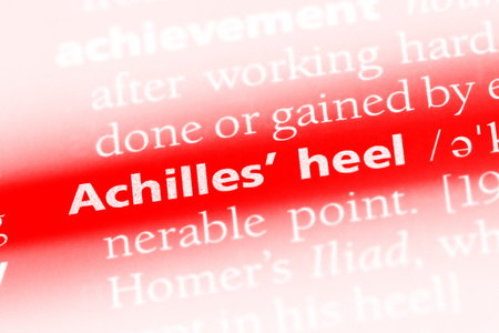Achilles hell word in a dictionary. Achilles hell concept.