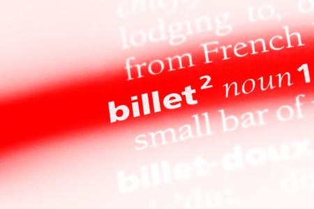 billet word in a dictionary. billet concept. Stok Fotoğraf - 99526293