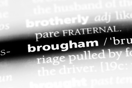 brougham word in a dictionary. brougham concept. Stock Photo