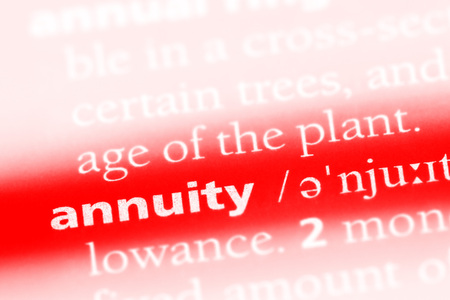 annuity word in a dictionary. annuity concept.