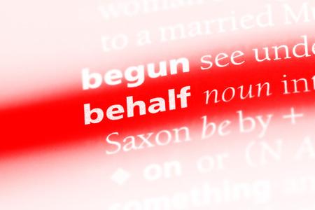 behalf word in a dictionary. behalf concept. 版權商用圖片