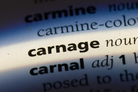 carnage word in a dictionary. carnage concept.