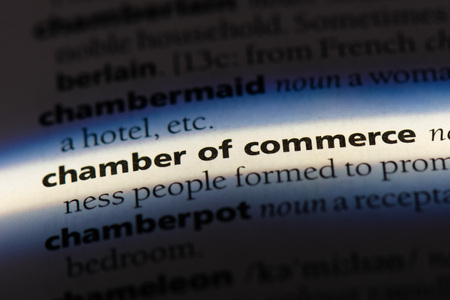 chamber of commerce word in a dictionary. chamber of commerce concept.