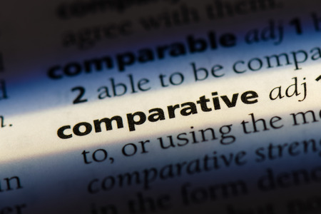 comparative word in a dictionary. comparative concept.