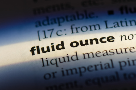 fluid ounce fluid ounce concept. Stock Photo