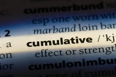 cumulative cumulative concept. Stock fotó