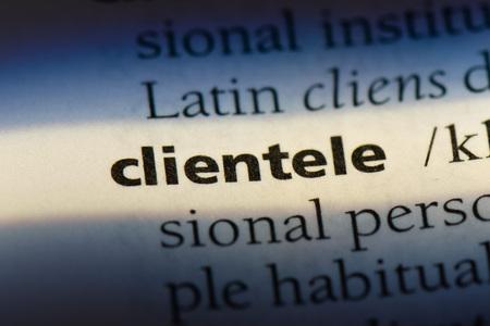 clientele word in a dictionary. clientele concept.