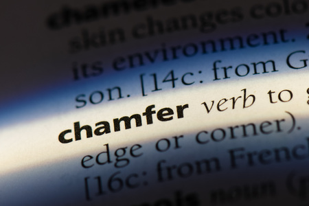 chamfer word in a dictionary. chamfer concept. Фото со стока - 100248936