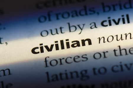 civilian word in a dictionary. civilian concept.
