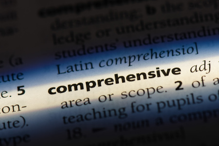 comprehensive word in a dictionary. comprehensive concept. 版權商用圖片