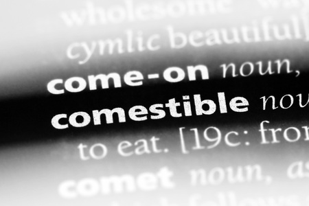 comestible word in a dictionary. comestible concept