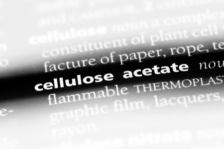 cellulose acetate word in a dictionary. cellulose acetate concept Stock Photo