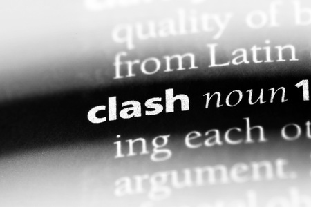 clash word in a dictionary. clash concept