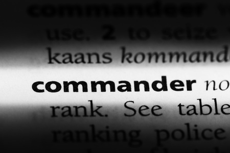 commander word in a dictionary. commander concept Stok Fotoğraf