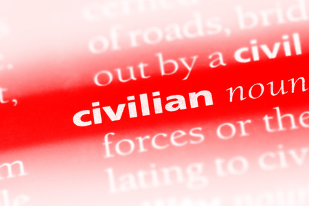 civilian word in a dictionary. civilian concept