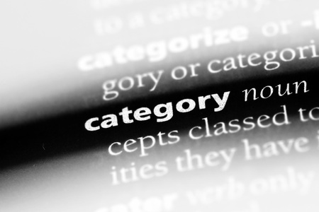 category word in a dictionary. category concept