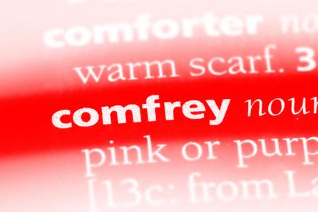 comfrey word in a dictionary. comfrey concept Stock Photo