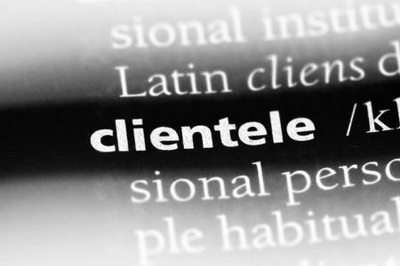 clientele word in a dictionary. clientele concept