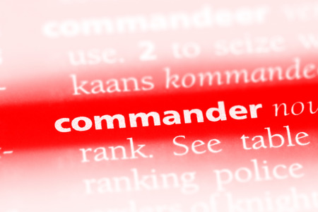 commander word in a dictionary. commander concept Stock Photo