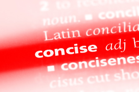 concise word in a dictionary. concise concept