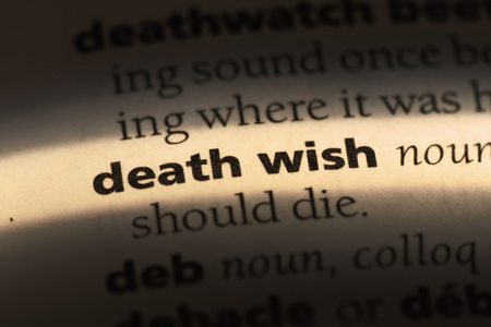 death wish word in a dictionary. death wish concept Stockfoto