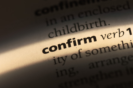 confirm word in a dictionary. confirm concept