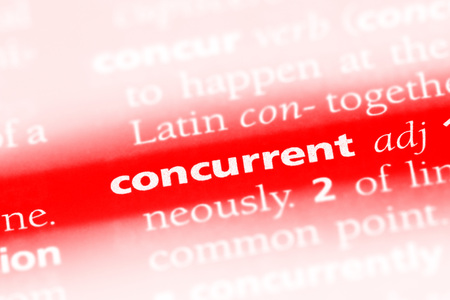 concurrent word in a dictionary. concurrent concept Imagens