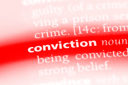 conviction word in a dictionary. conviction concept