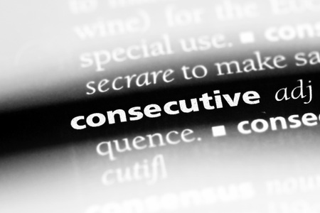 consecutive word in a dictionary. consecutive concept Imagens