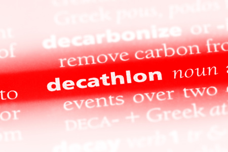 decathlon word in a dictionary. decathlon concept