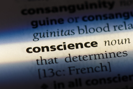 conscience word in a dictionary. conscience concept