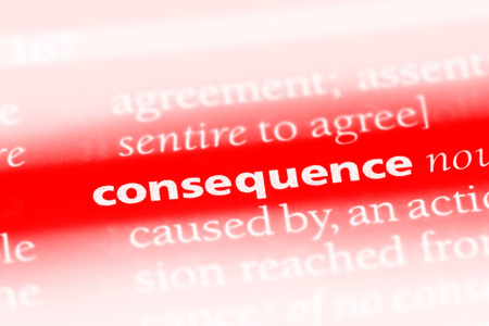 consequence word in a dictionary. consequence concept Foto de archivo - 100438399