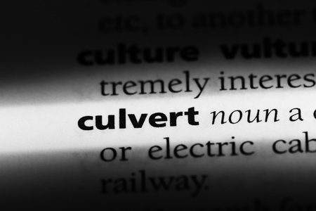 culvert word in a dictionary. culvert concept Stock Photo
