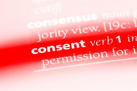 consentimiento palabra en un diccionario. concepto de consentimiento