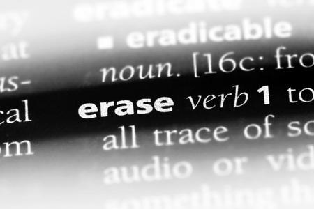 erase word in a dictionary. erase concept