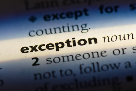 exception word in a dictionary. exception concept Stockfoto