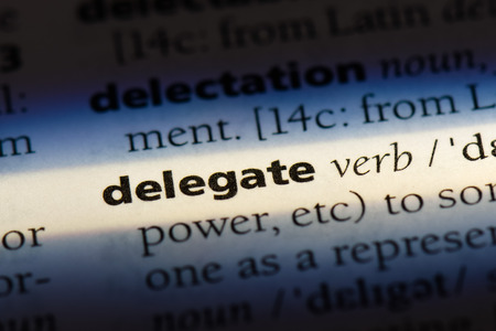 delegate word in a dictionary. delegate concept Banque d'images