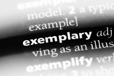 exemplary word in a dictionary. exemplary concept