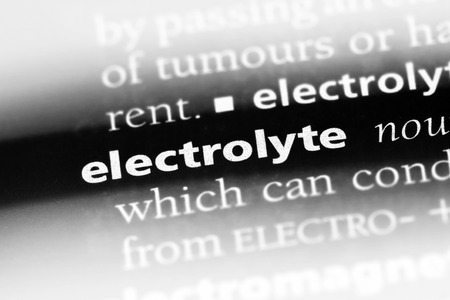 electrolyte word in a dictionary. electrolyte concept Stock Photo