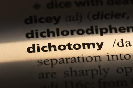 dichotomy word in a dictionary. dichotomy concept Stok Fotoğraf