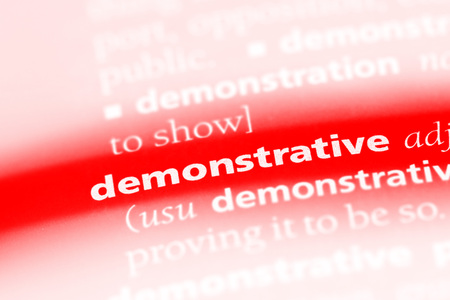 demonstrative word in a dictionary. demonstrative concept