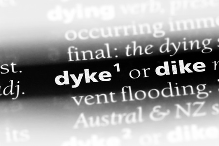 dyke word in a dictionary. dyke concept Stock Photo