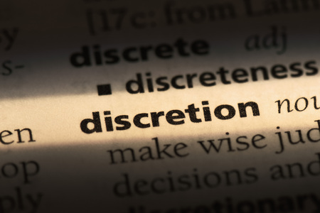 discretion word in a dictionary. discretion concept