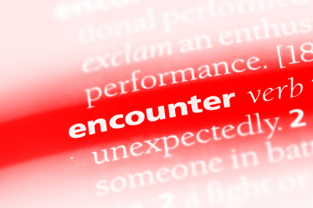 encounter word in a dictionary. encounter concept Stok Fotoğraf