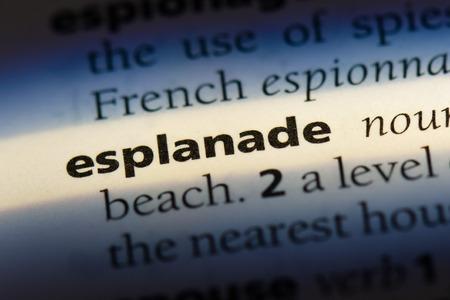 esplanade word in a dictionary. esplanade concept Stock Photo