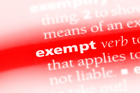 exempt word in a dictionary. exempt concept Stok Fotoğraf - 100420279