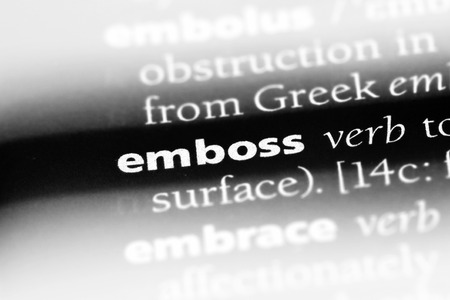 emboss word in a dictionary. emboss concept Stok Fotoğraf