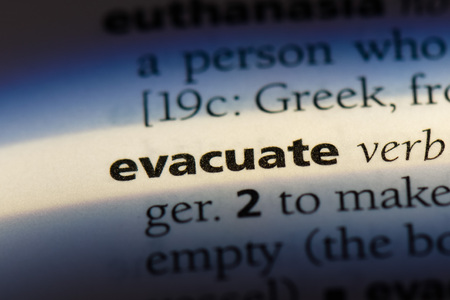 evacuate word in a dictionary. evacuate concept